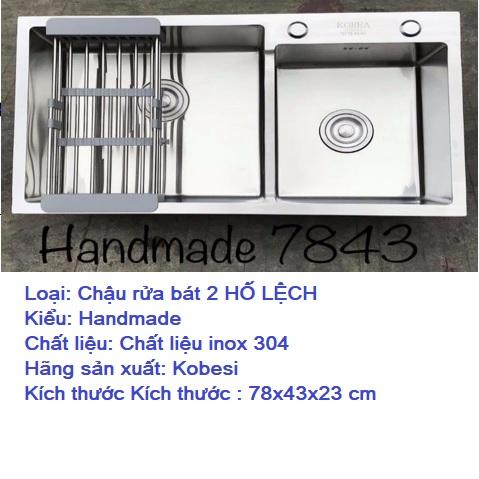 Chậu rửa 2 hố lệch KOBESI MODEL: KB 7843L 304