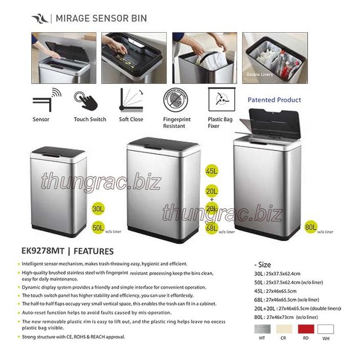 Thùng rác mirage sensor bin