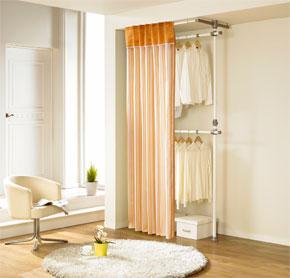 Giá treo quần áo rèm 2 cấp có sọc màu cam (LS-3224), màu chấm kaki (LS-3248) và màu cam (LS-3262)