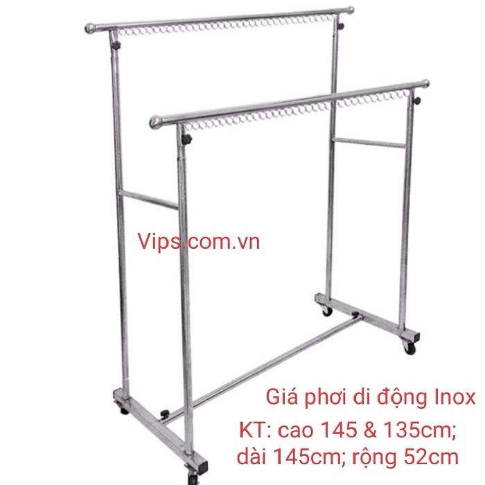 Giá Phơi Quần Áo Kép Hai Tầng Di Động GPK -01