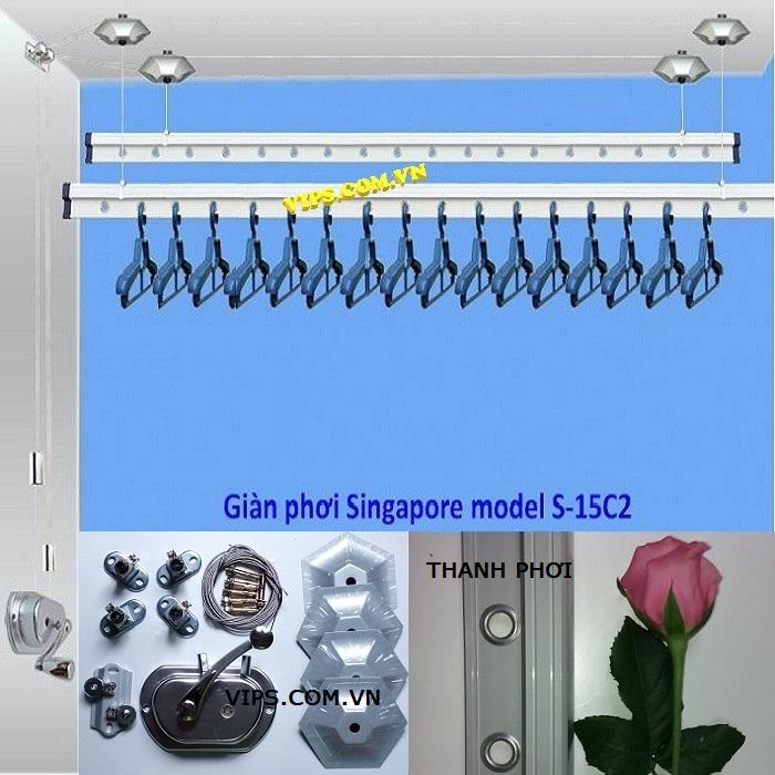 Giàn phơi thông minh Singapore S-15C2P