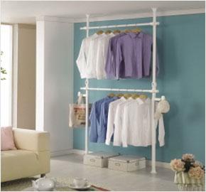 Giá treo quần áo hai cấp màu trắng (LS-1190) và Giá treo quần áo hai cấp màu trắng (LS-1213)